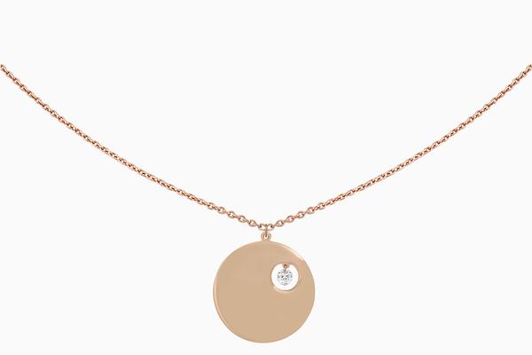 collier Portrait motif Pleine Lune, diamant et or rose